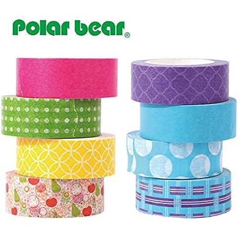 Polar Bear ®-Nastro Washi Tape, 15 mm X 9,14 m ciascuno, confezione da 8 (WT-1508)