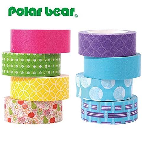 Polar Bear® Washi Tape Collection, 15 mm x 9,14 m, je 8 Stück, (WT-1508)