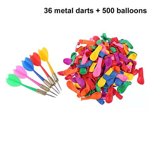NUOLUX Ballon-Pop-Spiel, 36PCS Darts 500PCS Ballon-Partei-Karnevals-Ballon-Pop-Spiel