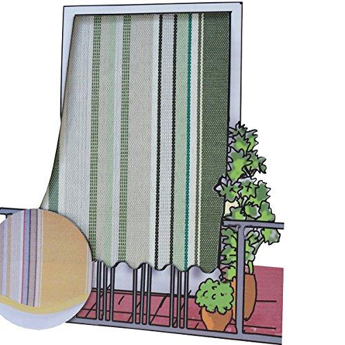 Galleria fotografica Tenda da sole per esterno in tessuto multirighe con anelli per balcone, terrazzo, casa - Cm 150x250 - Verde