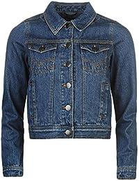 Firetrap Womens Cropped Denim Jacket Mens Coat Top Chest Pocket Fold Down Collar