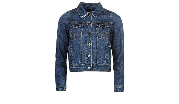 7b70f59572427 Firetrap Womens Cropped Denim Jacket Mens Coat Top Chest Pocket Fold Down  Collar Mid Wash 8 (XS): Amazon.co.uk: Clothing
