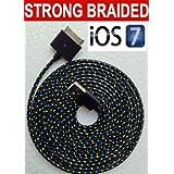 2m câble de chargeur/synchronisation USB résistant en nylon tressé pour iPhone 44S 3G 3GS iPad 2, 3en noir