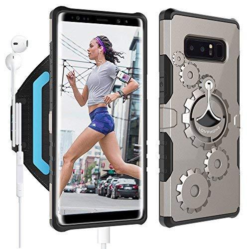 Samsung Galaxy Note 8Armband & Armour Case set-lovphone Multifunktionelle Sport Sportarmband + Premium Schutzhülle mit Ständer für Galaxy Note 8, weiches Gummiband mit Schlüsselhalter, Gunmetal-L