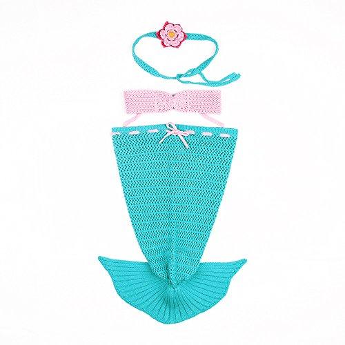 hen Mermaid Tails Kostüm Baumwolle gehäkelt Toddler Infant Mermaid Outfits für 0–12M (Baby Mermaid Outfit)