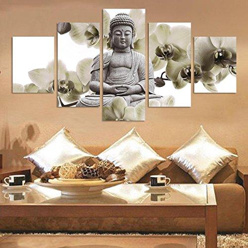 Mmwin Und 5 Panel Fondo Orquídeas Grandes Buda Fengshui