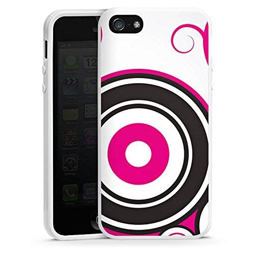 Apple iPhone 5s Housse étui coque protection Cercles Vrilles Rose vif Housse en silicone blanc