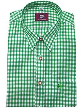 Freizeit Trachten Wander Hemd grün weiß kariert Orbis 0065 bequeme Passform M bis 6XL