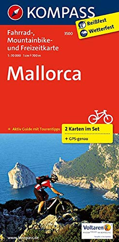 Mallorca: Fahrrad-, Mountainbike- und Freizeitkarte mit Führer. GPS-genau. 1:70000: 2-delige fietskaart 1:75 000 (KOMPASS-Fahrradkarten International, Band 3500)