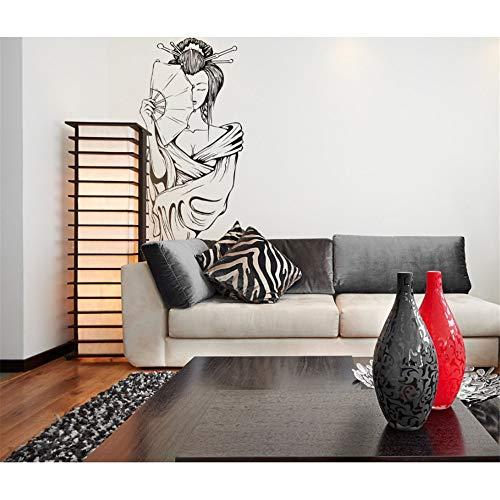 Zyzdsd 42 * 97 Cm Etiqueta De La Pared Salón De Belleza Geisha Chica Vinilo Adhesivo Cartel Japonés Retrato Artístico Salón Decoración De La Sala De Estar