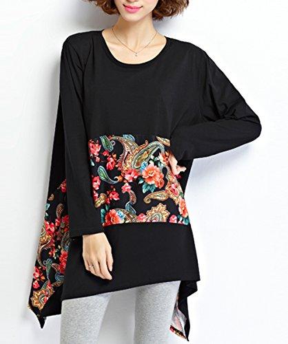 ELLAZHU Femme Printemps Grande Taille Noir Floral Chemises Chemisiers GA643 A Black