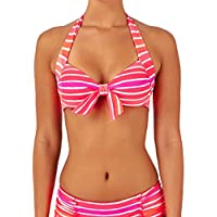 Top costume da bagno di Seafolly Balcone Push Up Miami Stripe Tie Neon Melon