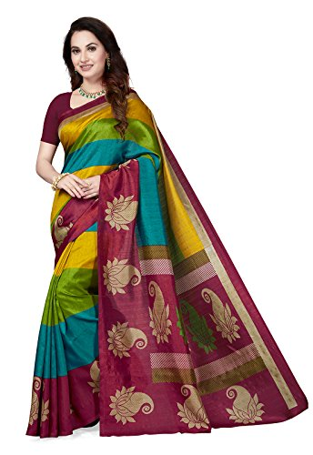 Ishin Art Silk Multicolor Printed Women\'s Saree/Sari