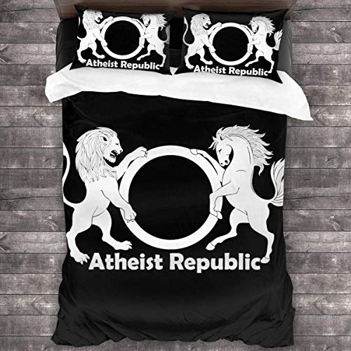"Nasuyes Atheist Republic Symbol Duvet Cover Bedroom Comforters Set Size 86""x 70"" 3 Piece Bedding Set with 2 Pillow Shams with Zipper Closure,Black,One Size"