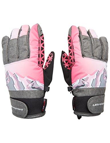 Ultrasport Ski Kinderhandschuhe Rocky, flexibler Finger-Handschuh für Kinder mit viel Bewegungsfreiheit, wasserbeständig, winddicht, schwarz/grau/weiß/pink, Größe 8-10 J.