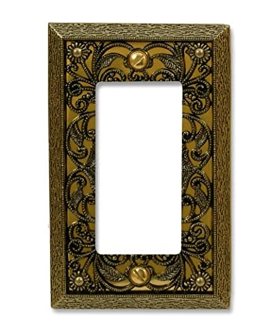 Amerelle 65RAB Filigree 1 Rocker-GFCI Wallplate, Antique Brass by Amerelle