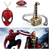 (2 Pcs AVENGER SET) - SPIDERMAN MASK & THOR HAMMER (GOLD) IMPORTED PENDANTS WITH CHAIN. LADY HAWK DESIGNER SERIES 2018. ❤ ALSO CHECK FOR LATEST ARRIVALS - NOW ON SALE IN AMAZON - RINGS - KEYCHAINS - NECKLACE - BRACELET & T SHIRT - CAPTAIN A