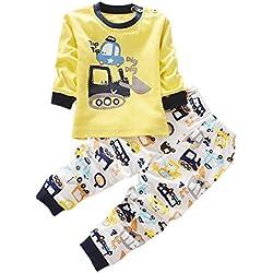 BOBORA Pyjamas Bébé Garçon, Motif de Dessin Anime Bébé Filles Garçons Manches Longues Vetements de Nuit