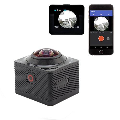 SOYA 1,5 pouces LCD caméra vidéo panoramique 360 degrés panoramique 1080P 3D VR Mini Wifi appareil photo à action étanche Caméscopes sous-marins pour les sports d'extérieur Vélo, ski, surf, plongée et tir aérien 【2 * batterie】
