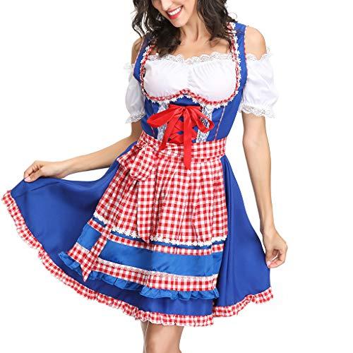 MONDHAUS Damen Trachten-Mode Midi Dirndl Zenzi,Trachtenkleid, Dirndl Bluse, passender Schürze Frauen Bier Festival Kleid Sexy Dessous Kleid Maid's Kleidung Cosplay Kostüme