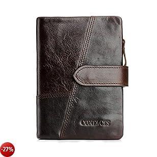 Portafoglio Uomo in vera pelle Bifold Trifold Wallet Card Holder Staccabile Moneta Tasca(Marrone Scuro)-QB002