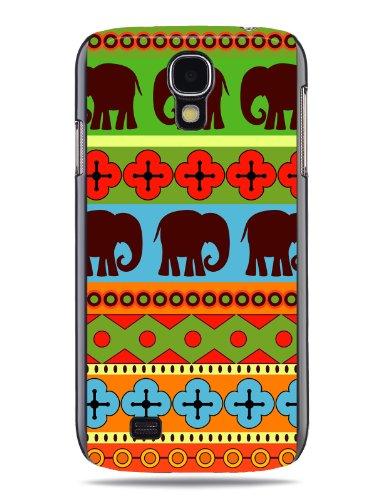 """GRÜV Premium Case - Design """"Afrikanische Elefanten, Tribalkunst"""" - Qualitativ Hochwertiger Druck Schwarze Hülle - für Samsung Galaxy S4 IV i9500 LTE i9505"""