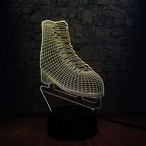 Led Deko 3D RGB LED Nachtlicht Ice Blade Hockey Skate Schuhe Multicolor Ändern Tischlampe für Kinder Geschenk Zimmer Sport Sport Decor