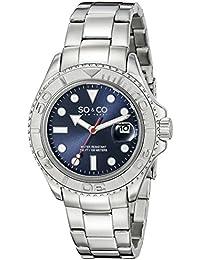 So y Co Club de Nueva York para hombre de yates reloj infantil de cuarzo con azul esfera analógica y plateado correa de acero inoxidable de 5053,2