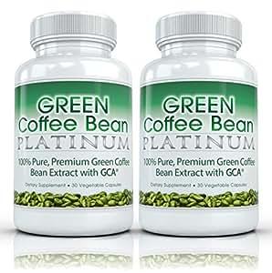Green Coffee Bean Platinum (2 bouteilles) Grain de Café Vert Platine - 100% extrait de grain de café vert de haute puissance et de qualité supérieure pour perdre du poids rapidement 800mg