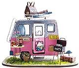 DIY Haus Bausatz Basteln Miniatur Puppenhaus Dekoration Kreative Geschenkidee mit LED Licht Bunt (Wohnwagen)