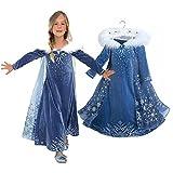 oobest Prinzessin Mädchen Blaue Schneekönigin ELSA Kostüm Cosplay Phantasie Party Girls Hochzeitskleid mit Pelz Trim Cape