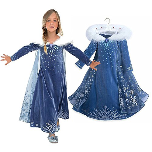 Fousamax Ice Queen Princess Cosplay Kostüm, ELSA Anna Cosplay Cosplay Kostüm Set Sofia Rapunzel Tüll Kleid Schneekönigin Party Outfit Deluxe Carnival Dress (Deluxe Kleid Kind Kostüm)
