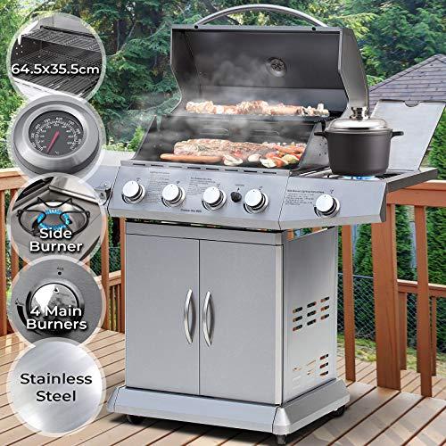 barbecue a gas - griglia con 5 bruciatori (4+1), in acciaio, con termometro e ruote, 137.5/57/119 cm - bbq gas, grill barbecue