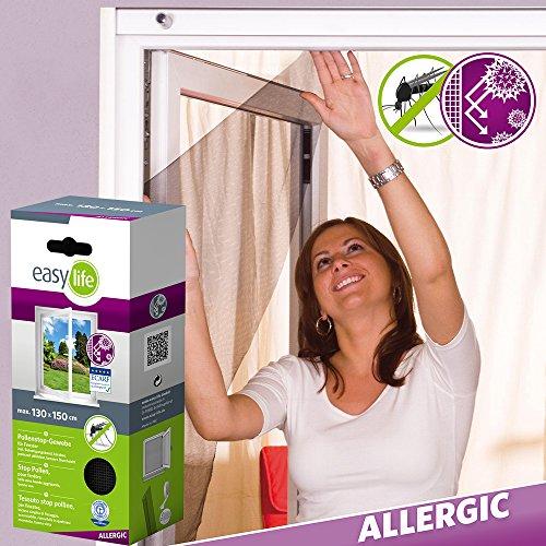 ALLERGICpro Pollenschutzgewebe Fenstergitter Insektenschutzgitter - 130 x 150 cm - anthrazit