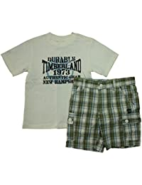 Timberland Niños Verano Outfit Pantalones Cortos De + Camiseta de cuadros) Beige Verde