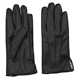 AROSA Men's Faux Leather Gloves, Faux Fur Lining, Business and Casual Wear -  Black -