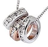 quadiva S. Collar para mujer con 3de anillo colgante (Color: weißgold/Rosegold, 18K oro) todos los tres anillos están adornado con cristales de swarovski
