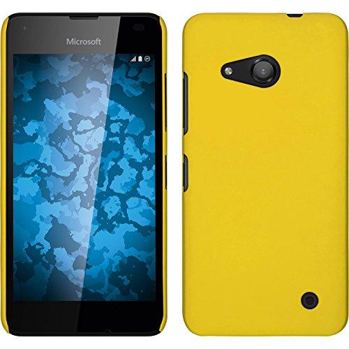 PhoneNatic Case für Microsoft Lumia 550 Hülle gelb gummiert Hard-case für Lumia 550 + 2 Schutzfolien