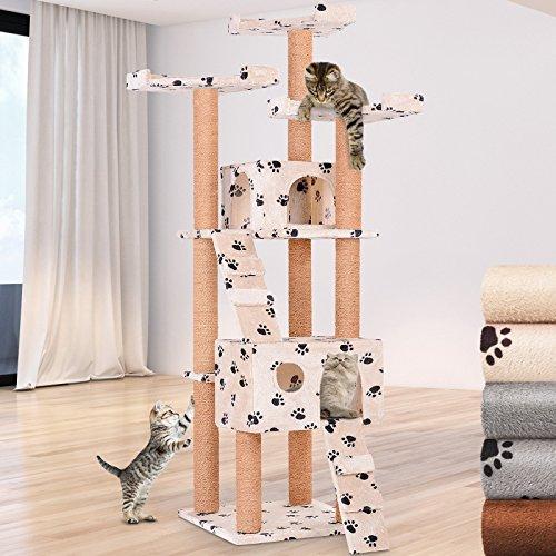 Leopet Kratzbaum zum Spielen, Schlafen und Relaxen | 171 cm hoch, mit Zwei Höhlen und 3 Plattformen, Farbwahl | Katzenbaum, Katzenkratzbaum, Kletterbaum | (Beigetatze)