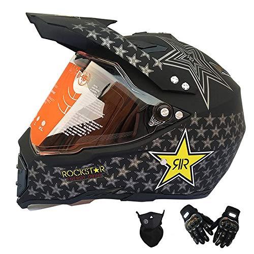 MRDEAR Motorrad Crosshelm, Motocross Helm Set mit Visier Handschuh Maske, Schwarz/Rockstar, Full Face MTB Helm Motorradhelm für Downhill BMX Enduro Damen Herren Sport Sicherheit Schutz,XXL