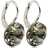 Ohrringe mit Kristallen von Swarovski® - Farbe Silber Black Diamond Grau - Etui - Made in Germany
