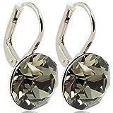 Ohrringe mit Kristallen von Swarovski® für Damen - Viele Farben - Silber - NOBEL SCHMUCK (Black Diamond)