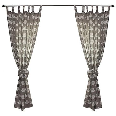Kinderzimmer Gardinen 2er Set Vorhänge mit Schleifen Dekoschal 155x100cm Schlaufenschal
