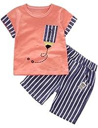 DRESS_start 2018 Ropa para Niño - Conjunto Dibujos Animados para Niños -Conjunto De Camiseta Y Pantalones Cortos A Rayas para Niños -2PCS Traje De Verano Playa para 1-5AñOs,