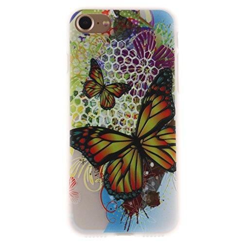 iPhone 7 Hülle, Voguecase Silikon Schutzhülle / Case / Cover / Hülle / TPU Gel Skin für Apple iPhone 7/iPhone 8 4.7(Lace Teppich 06) + Gratis Universal Eingabestift Groß Bunt Schmetterling 01