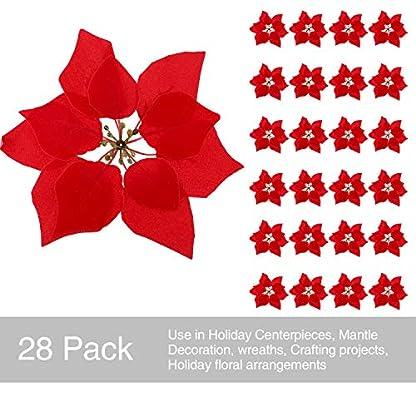 Tatuo 28 Piezas de Flores de Navidad Artificales Poinsettia Roja Adornos de Guirnalda de Arbol, 8 Pulgadas