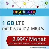 discoSURF Internet-Flat 1 GB LTE [SIM, Micro-SIM und Nano-SIM] 24 Monate Vertragslaufzeit (1 GB LTE mit max. 21,1 MBit/s, 2,99 Euro/Monat in den ersten 12 Monaten, danach 6,99 Euro / Monat ) O2-Netz preiswert
