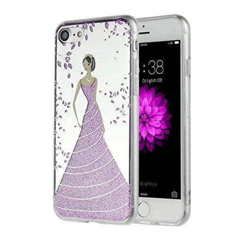 MOONCASE iPhone 7 Coque, Bling Glitter Etui TPU Silicone Antichoc Housse Case pour iPhone 7 (Étoile Fille - Rose) Fleur Fille - Violet