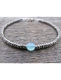"""Chalcedony Bracelet, Bead Bracelet, Gemstone Bracelet, Vegan Bracelet, Chakra Bracelet, Stack Bracelet, Energy Bracelet, Women's Bracelet 3-5mm 7"""" Strand."""