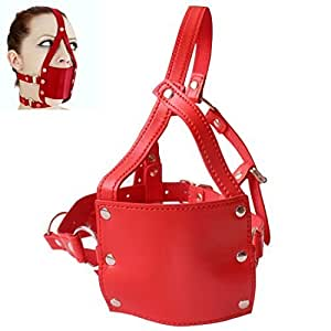 Master Punishment Muffle Ball Gag Slave Full Head Harness Mask (Red) by EFE